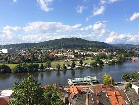 Miltenberg, Landscape, River, Nature, Clouds