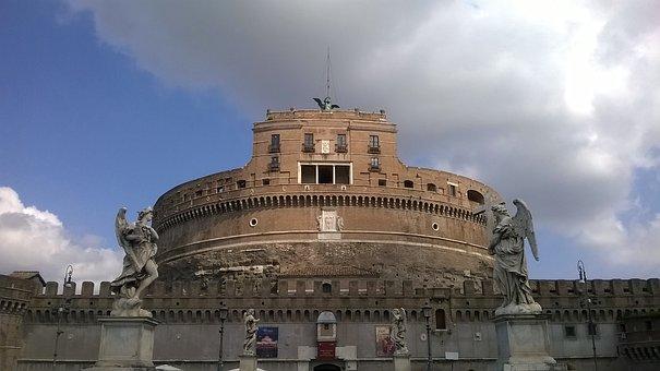 Rome, Castel Sant'angelo, Tiber Castle, Statues, Bridge