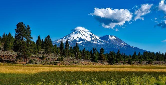 Mount Shasta, California, Volcano, Hdr, Snow, Sky