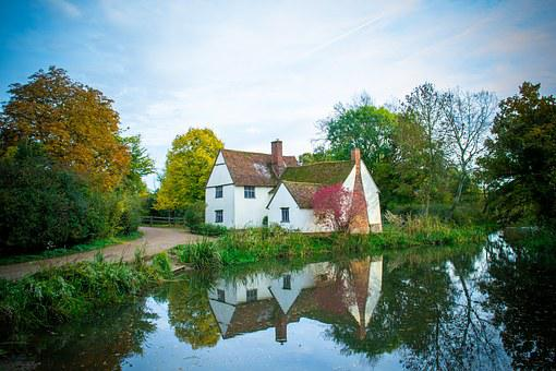 Cottage, Suffolk, Flatford, England, Uk, Anglia