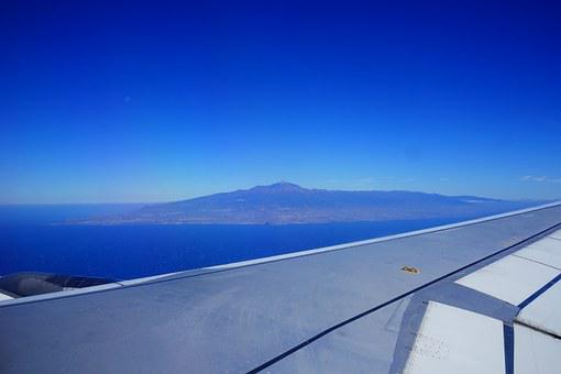 Fly, Aircraft, Wing, Sky, Clouds, Blue, Tenerife, Teide