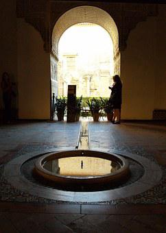Alhambra, Source, Water, Arc, Backlight, Muslim Art