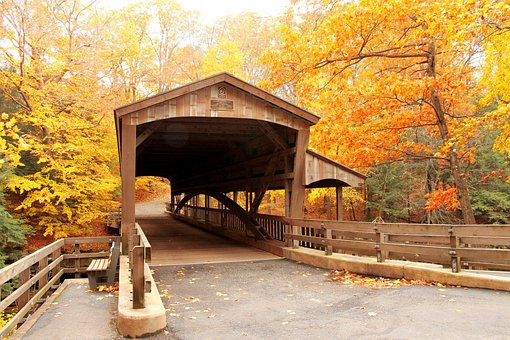 Bridge, Covered Bridge, Autumn, Fall, Leaves, Yellow