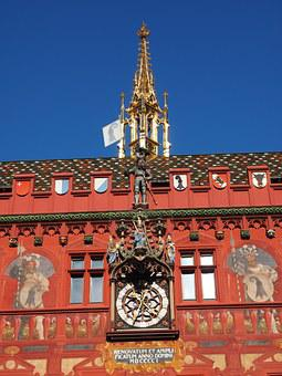 Basel City Hall, Clock, Town Hall Clock, Time