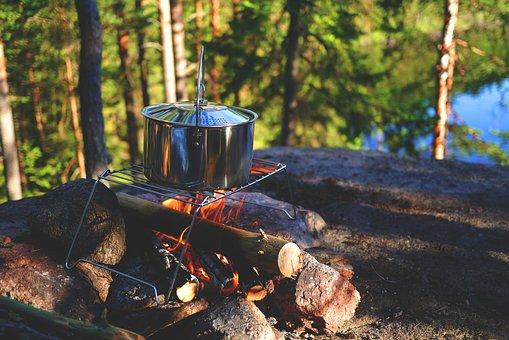 Campfire, Stock, Outdoor, Pot, Fireplace, Camp