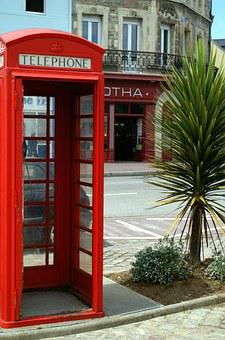 Phone Booth, France, Cherbourg, Red, Cityscape
