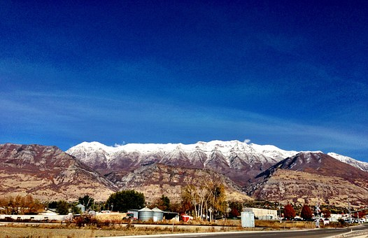 Mountains, Snow, Snowclad, Barren, Foothill, Road