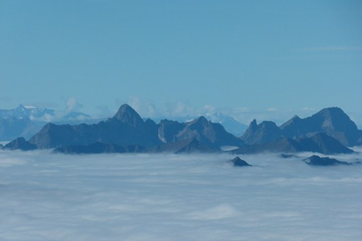 Mountains, Summit, Sea Of Fog, Foothills Of The Alps