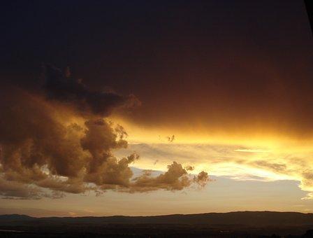 Sunset, Clouds, Sky, Twilight, Lausanne, Evening, Magic