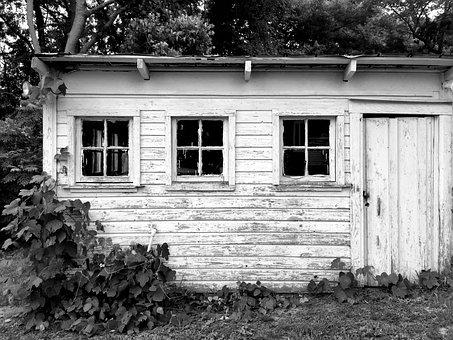 Barn, Hangar, Black And White, Shack, Old, Vintage