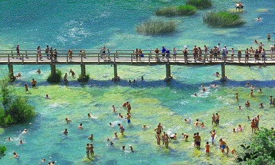 Bridge, Wooden, People, River, Panorama, Landscape