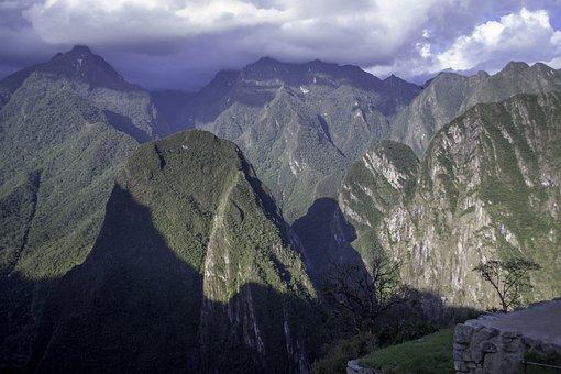 Machu Picchu, Peru, Mountains, Clouds, Foothills