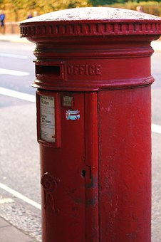 Letter Boxes, Red, Pillar, Post, Metal