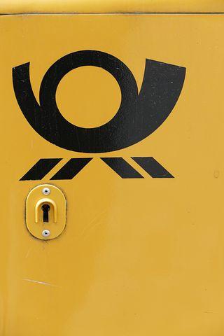 Letter Boxes, Deutsche Post, Post Horn, Yellow