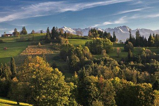 Landscape, Morning, Morning Sun, Shadows, Mountains