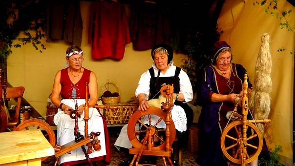 Women, Spin, Spinning Wheel, Hand, Craft, Middle Ages