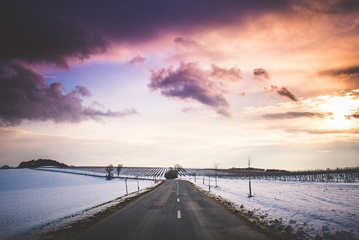 Sunset, Horizon, Winter, Road, Way, Fields