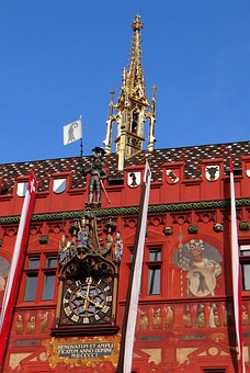 Basel, Switzerland, Town Hall, Home, Red, Gold