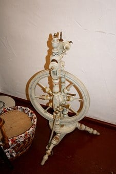 Spinning Wheel, Spin, Thread, Old, Wood, Wool, Craft
