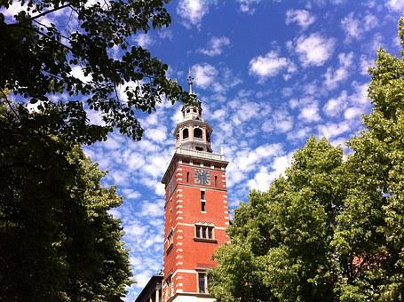 Empty, Town Hall, Tower, Red, East Frisia, Clouds
