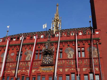 Basel, Switzerland, Town Hall, Home, Red, Architecture