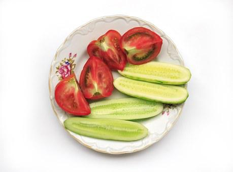 Tomatoes, Cucumbers, Vegetables, Green, Vitamins, Red