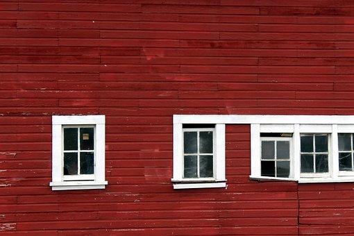 Windows, Red, Barn, White, Slats, Siding, Side
