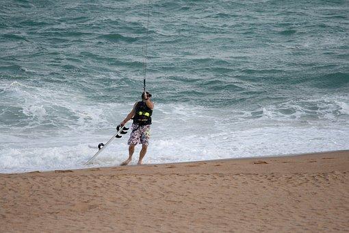 Windsurfer On Beach, Beach, Sand, Sea, Waves, Board