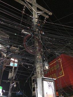 Wire, Electricity, Post, Inzheniriya