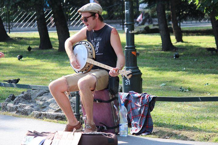 Artist, Road, Musician, Park, Banjo