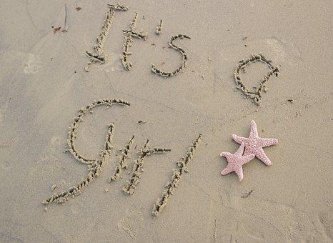 Sand, Starfish, Pink, Beach, Words, Writing