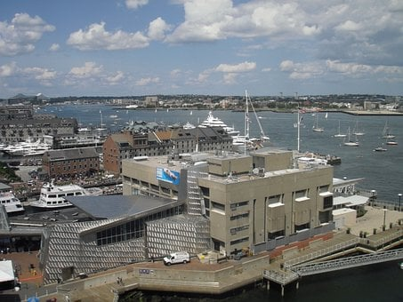 Boston, Boston Harbor, City, Docks, Ships, Sailboats