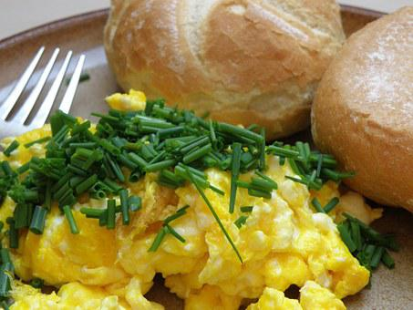 Breakfast, Scrambled Eggs, Bun, Chive, Eggs
