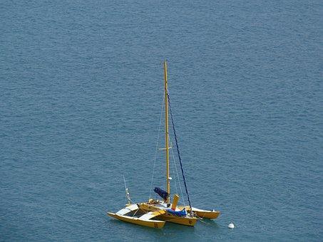Catamaran, Sailboat, Ocean, Blue, Sea, Mats, Navigation
