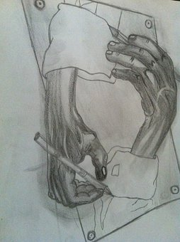 Charcoal Drawing, Pencil Drawing, Drawing, Hands