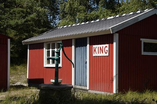 Hut, Cottage, Sweden, King, Pump, Fountain, Simply