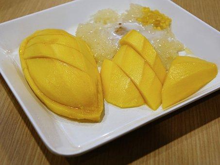 Mango, Sticky Rice, Coconut Milk, Dessert, Fruit, Milk
