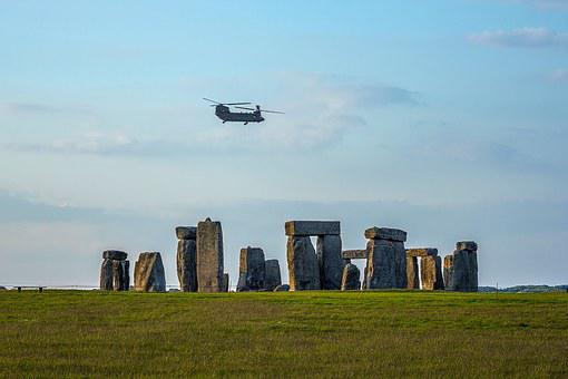 Stonehenge, Monument, Silhouette, The Sky, Helicopter