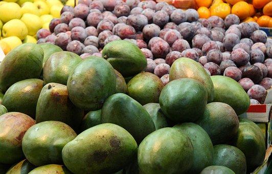 Fruits, Mango, Plums, Orange, Pears, Fresh, Market