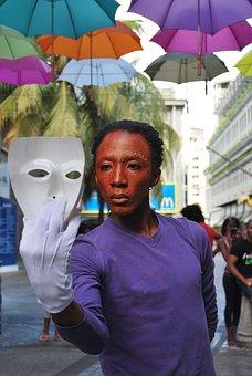 Man, Mask, Performance, Street, Umbrellas, Black, Show