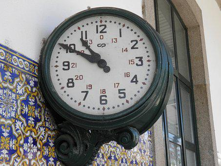 Station Clock, Railway, Douro, Portugal, Europe, Clock