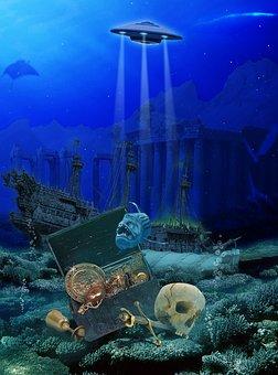 Ocean, Alien Object, Underwater, Undersea World, Rays