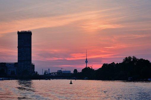Berlin, Spree, Sunset, Evening, Abendstimmung, Tv Tower