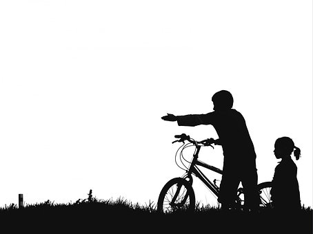 Kids, Bike, Silhouette, Black And White, Pointing