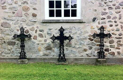 Three Crosses, Cross, Cemetery, Chapel, Church, Black