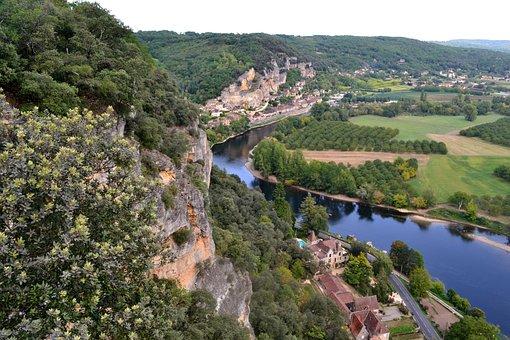 River, Dordogne, Aerial View, France, Forest, Landscape