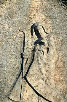 Saint Christophorus, Relief, Statue, Figure, Stone