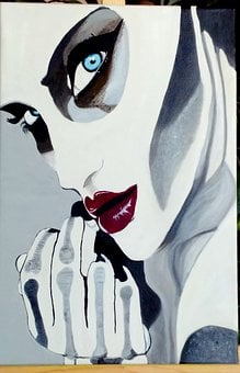 Oil Painting, Halloween, Fantasy, Woman, Face, Red Lips