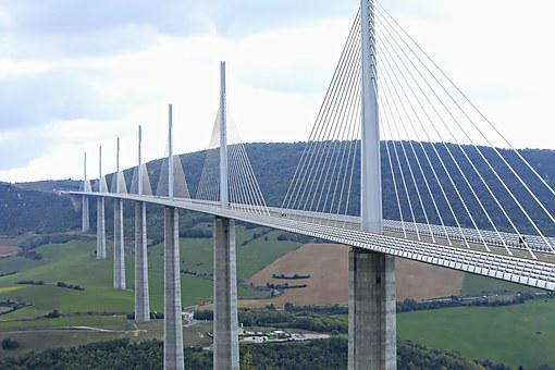 Bridge, Landscape, Millau, Valley, Highway