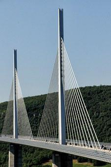 Bridge, Architecture, Millau Bridge, France, Pillar